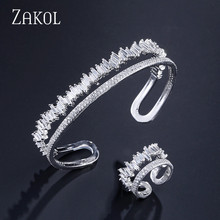 ZAKOL New Arrival Round Shape Jewelry Set Exquisite Micro Pave Setting Cuff Bracelet Bangle & Ring Set Bijoux FSSP376 rhinestone octopus shape cuff ring