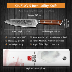 Image 2 - XINZUO 5 inch Utility Knives Japanese VG10 Damascus Steel Kitchen Knife Rosewood Handle Top Selling Fruit Cooking Knives