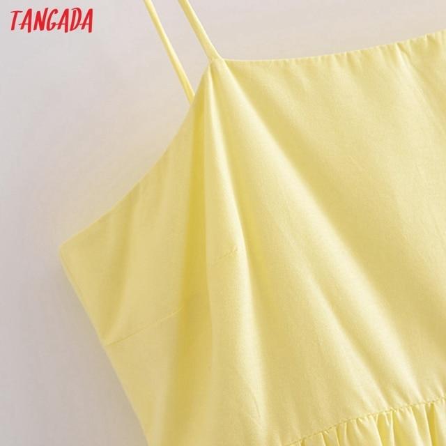 Tangada Women Solid Yellow Cotton  Long Dress Strap Sleeveless Side Zipper 2021 Fashion Lady Elegant Dresses Vestido 3H319 3
