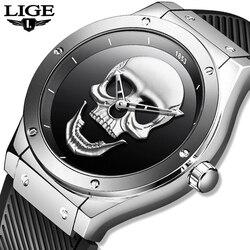 LIGE męskie zegarki nowy zegarek z czaszką męski sportowy zegarek w stylu wojskowym mężczyźni wodoodporna stal nierdzewna złoty kwarc zegar