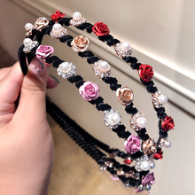 Pearl Flower Colorful Hairbands Korea Women Sweet Street Hair Accessories Fashion Rhinestone Headband Girlfriend Gift Headwear