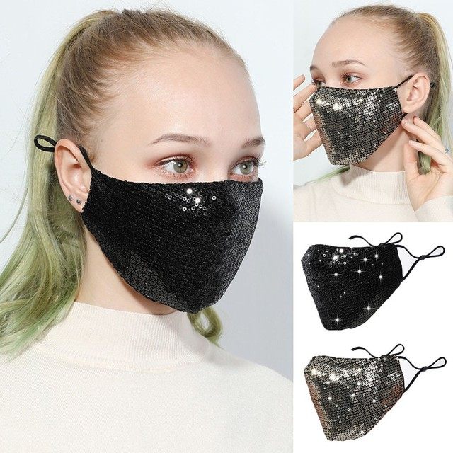 Black Sequins Mouth Mask Anti Dust Mask Windproof Mouth-muffle Bacteria Proof Flu Face Masks Washable Reuse PM2.5 Outdoor Mask