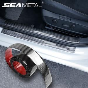 Car Stickers Bumper Sticker Protector Car Door Sill Stickers Carbon Fiber Rubber Body Tape Anti Scratch Scuff Protective Film
