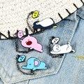 Спальный Животные эмали штырь с милыми пингвинами слон свинья значок с изображением кота из стразов белого котенка с лацканами куртки Pin му...