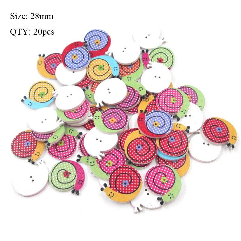 20 шт деревянные пуговицы для рукоделия, аксессуары для скрапбукинга, декорации, botones de madera para manualidades - Цвет: K30