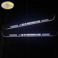 SNCN 2PCS 아크릴 이동 LED 환영 페달 자동차 스커프 플레이트 페달 도어 Sill 통로 빛 BMW Z4 E85 E86 E89 2002 - 2017