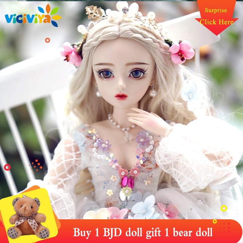 Pretty Wedding Dress Bride 60cm 1//3 BJD Doll Replaceable Eyes Wig Full Set