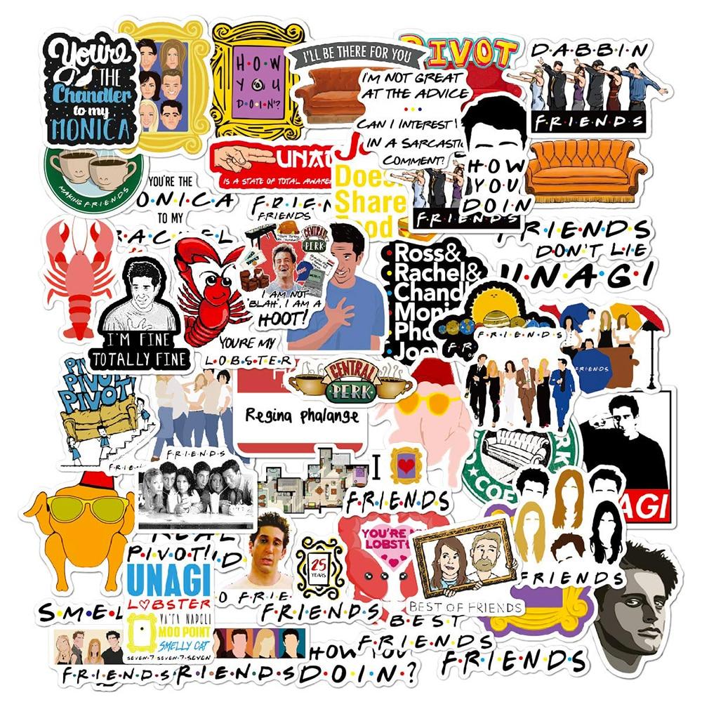 50PCS Friends TV Show Cartoon Stickers Car Bike Travel Luggage Phone Guitar Laptop Waterproof DIY Funny Stickers Classic Toys