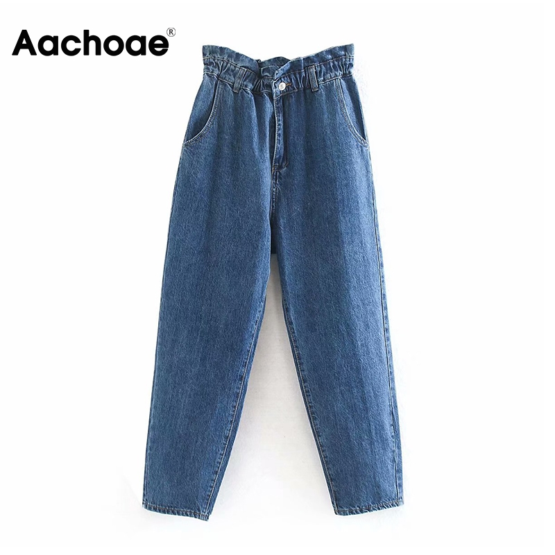 Aachoae Fashion Elastic High Waist Jeans Women Streetwear Blue Denim Pants Casual Pockets Pleated Mom Jeans Full Length Trousers