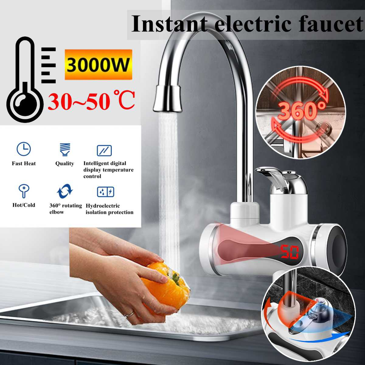 220V 3000W Instant Electric Faucet Tap Hot Water Heater 30-50 Stainless Steel Under Inflow LED Display Bathroom Kitchen