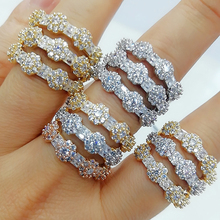 GODKI Luxury 3 Layers Bold Statement Rings with Zirconia Stones 2020 Women Engagement Party Jewelry High Quality