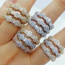 Godki luxo 3 camadas bold anéis de afirmação com pedras de zircônia 2020 feminino noivado festa jóias alta qualidade