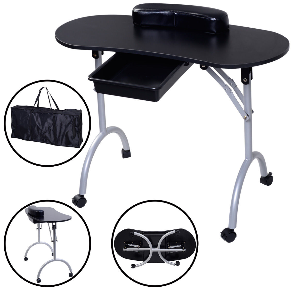 Costway Portable Manicure Nail Table Station Desk Spa Beauty Salon Equipment Black