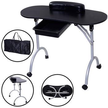 Costway Tragbare Maniküre Nagel Tisch Station Schreibtisch Spa Schönheit Salon Ausrüstung Schwarz auf