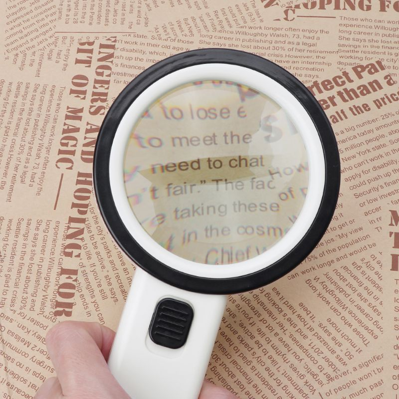 30X LED Magnifying Glass Handheld Lighted Magnifier Double Lens Jewelry