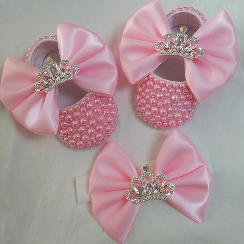 Bowknot Custom Sparkle Bling Crystals Rhinestones Pearl Baby Girls Shoes Crown Princess Shoes First Walkers Hairband