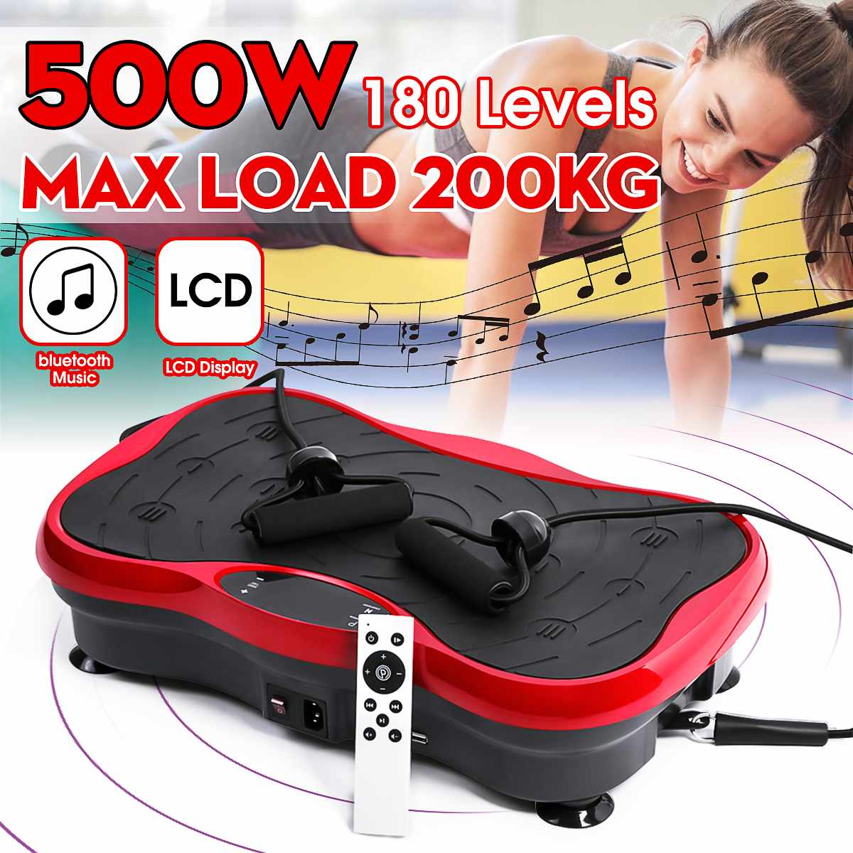 200KG/330lb Exercise Fitness Slim Vibration Machine Trainer Plate Platform Body Shaper Remote Control With Resistance Bands 500W