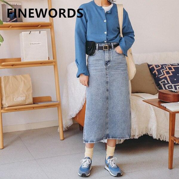 FINEWORDS Vintage Casual Denim Straight Long Skirt Blue Jeans Skirts Womens High Waist Skirt With Sashes Bag 2020 Summer Faldas