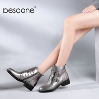 BESCONE Handmade Ladies Ankle Boots Fashion Solid Genuine Leather Round Toe Shoes High Quality Buckle Med Heel Woman Boots B70