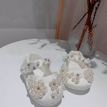 Dollbling New Pure White Children'S Shoes Pearl Customization Handmade Baptism Birthday Present Princess Little Girl Shoes 0032