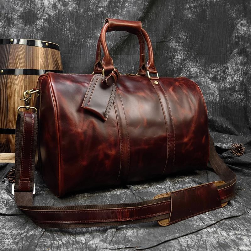 Luufan Vintage crazy horse leder reisetasche für mann big kapazität echtes kuh leder travel duffel gepäck tasche männlichen sport tasche-in Reisetaschen aus Gepäck & Taschen bei  Gruppe 1