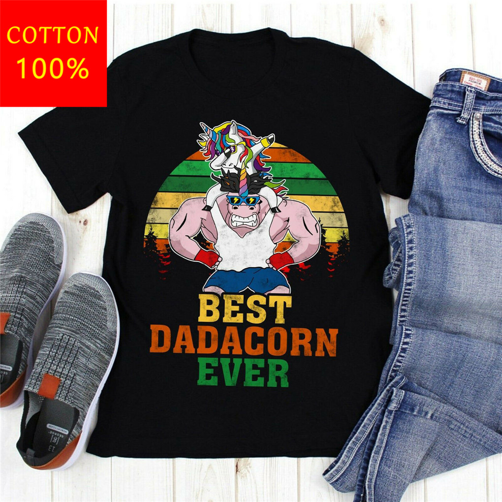Best Dadacorn Ever Awesome Unicorn Dad T Shirt For Youth <font><b>MiddleAge</b></font> The Old Tee Shirt image