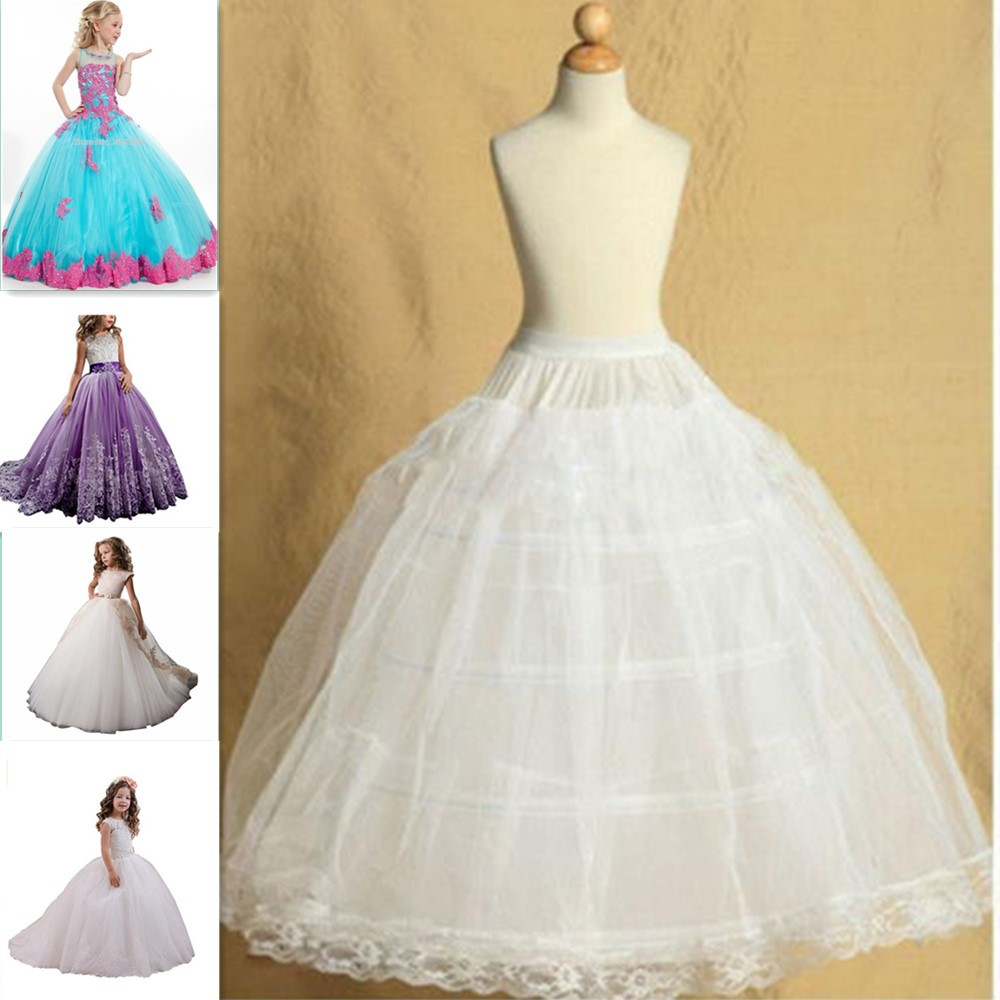 2 Hoop Adjustable Flower Girl Dress Children Little Kids Puffy Underskirt Wedding Crinoline Petticoat Fit 3 To 14 Years Girl