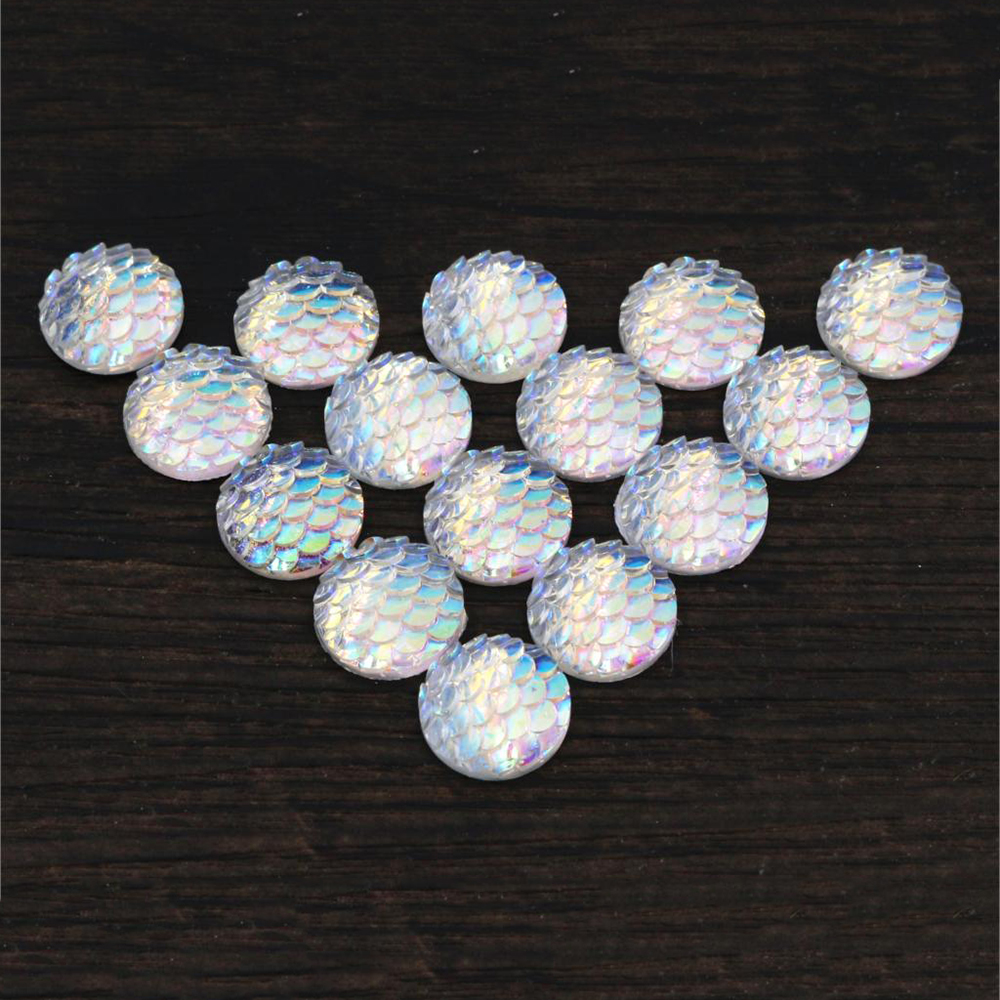 New Fashion 40pcs 12mm Transparent Color Fish Scale Style Flat Back Resin Cabochons For Bracelet Earrings Accessories-Z4-28