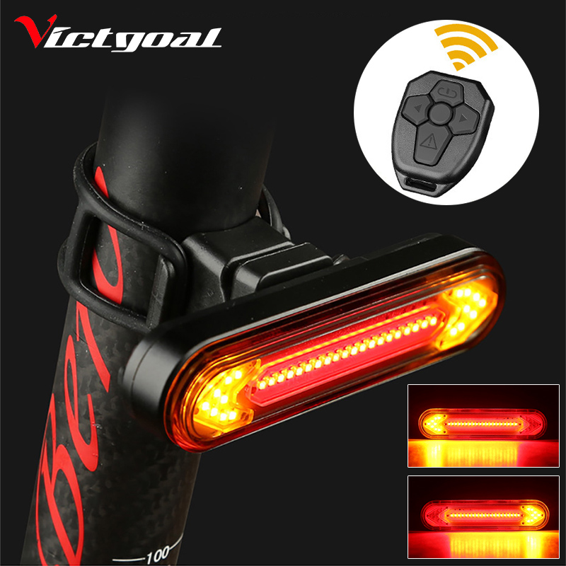 Victgoal Remote Turn Bike Tail Light Wireless LED Smart USB Rechargeable Bicycle Accessories Cycling Rear Light laser Signal