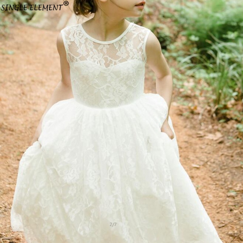 High Quality First Communion   Dresses   for   Girls   Lace Sleeveless   Flower     Girl     Dresses   for Weddings