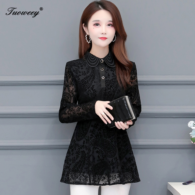 Hollow Out Lace Blouse Shirt Ladies 2020 Spring Summer Sexy stand collar Tops Casual Elegant black solid Blouses Plus Size 5