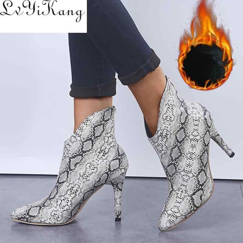 ขนาด 36-42 แฟชั่นชี้ Toe สุภาพสตรีรองเท้าเซ็กซี่ใหม่เชลซีบางส้นสูงงูผู้หญิงซิปรองเท้าพิมพ์