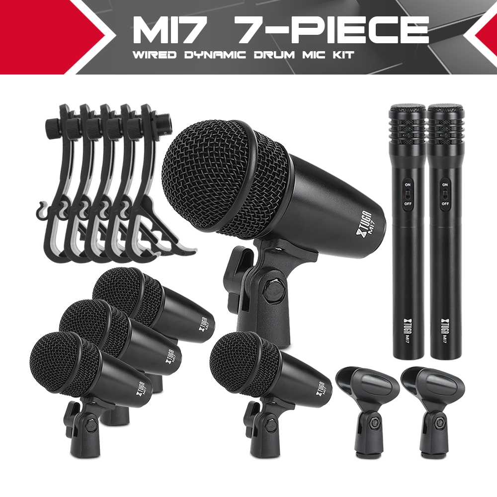 XTUGA MI7P 7-Piece Wired Dynamic Drum Mic Kit (Whole Metal)- Kick Bass, Tom/Snare & Cymbals Microphone Set - Use For Drums