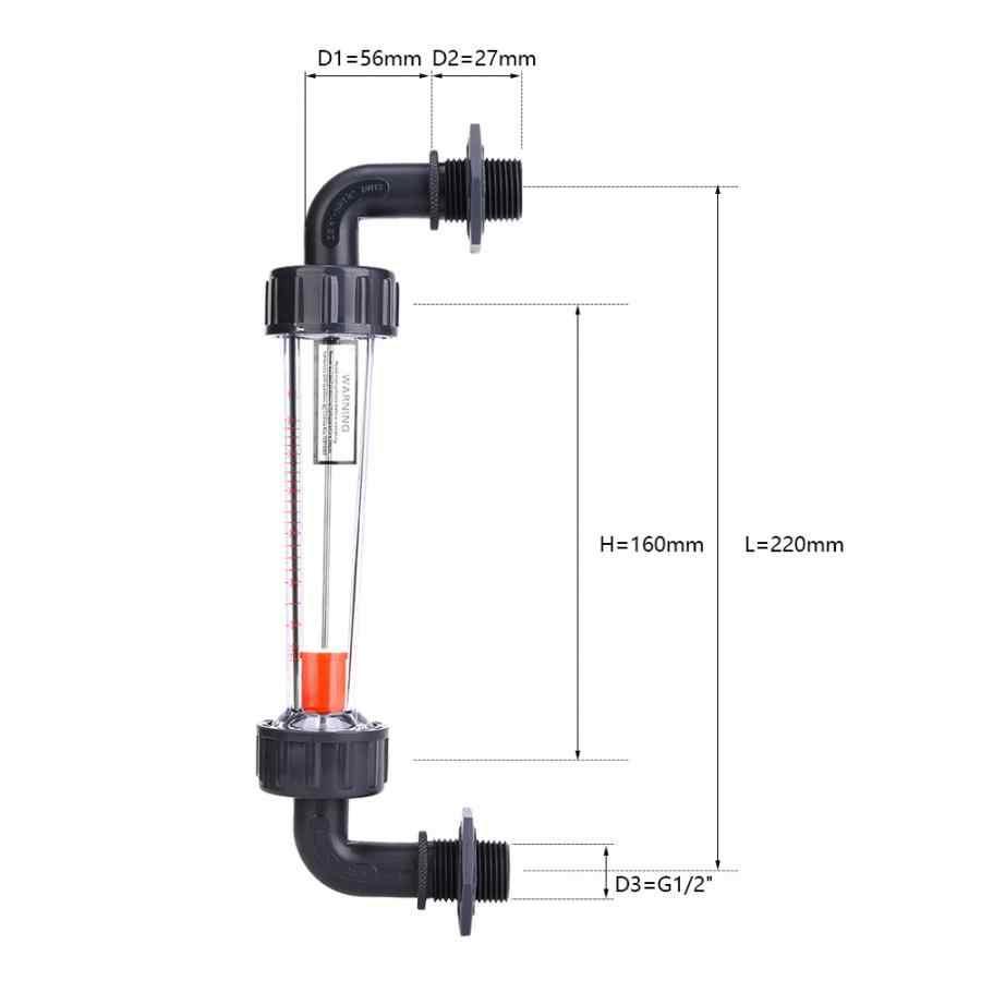 Flow Meter LZS-15W Siku Flowmeter Plastik ABS Tabung Tipe Waterflow Meter 10-100LPH Thread Pria ZG1/2-NPT1 /2 Inch