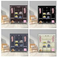 Bedroom Multipurpose Storage Clothes Closet Portable 12 Shelves 4 Side Pockets Wardrobe Storage Rack Cloth Closet Furniture