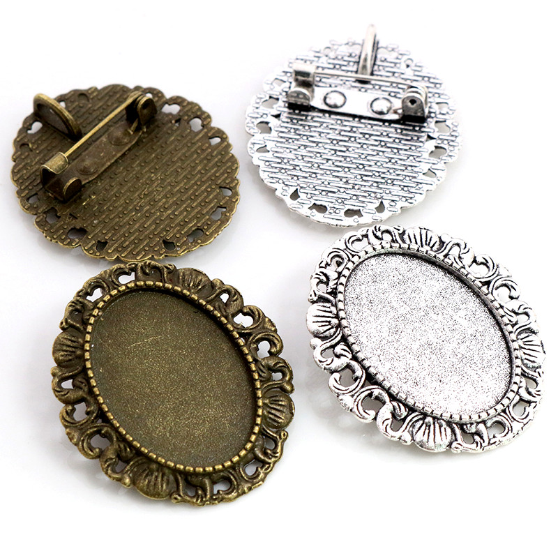 5pcs 18x25mm Inner Size Antique Silver Plated Bronze Brooch Pin Classic Style Cameo Cabochon Base Setting