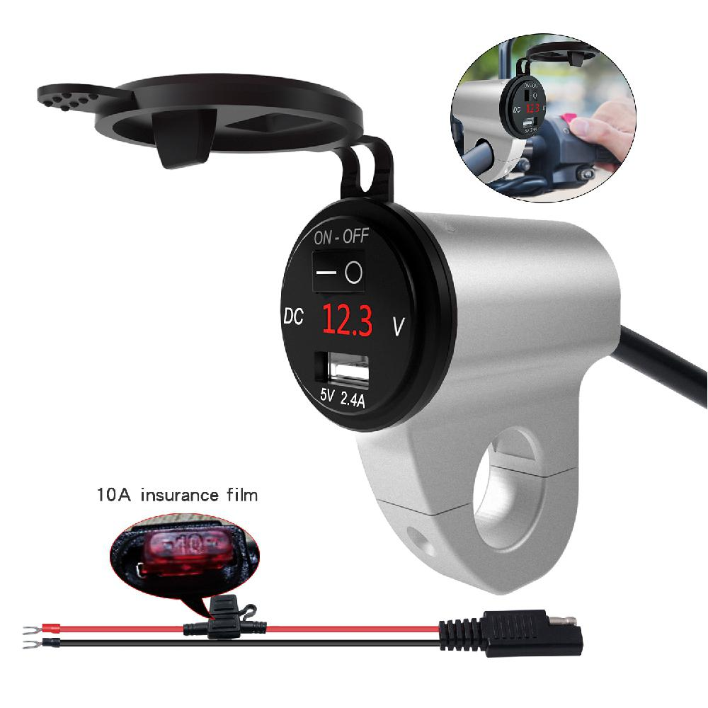 Motorcycle Charger Waterproof Phone USB Adapter Charger Digital Display Voltage QC3.0 Dual USB Charger ON OFF Switch