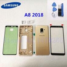 SAMSUNG Galaxy A8 A530 A530F SM-A530F чехол с полным корпусом стеклянная задняя крышка+ передняя стеклянная линза+ средняя металлическая рамка