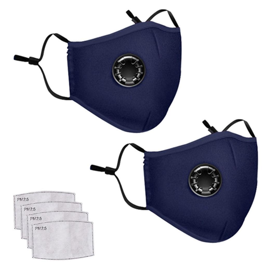 2PCS Dark Blue Masks 4PC Filter Washable Reusable Mouth Mask Unisex Cotton Face Mask Mascarilla Mond