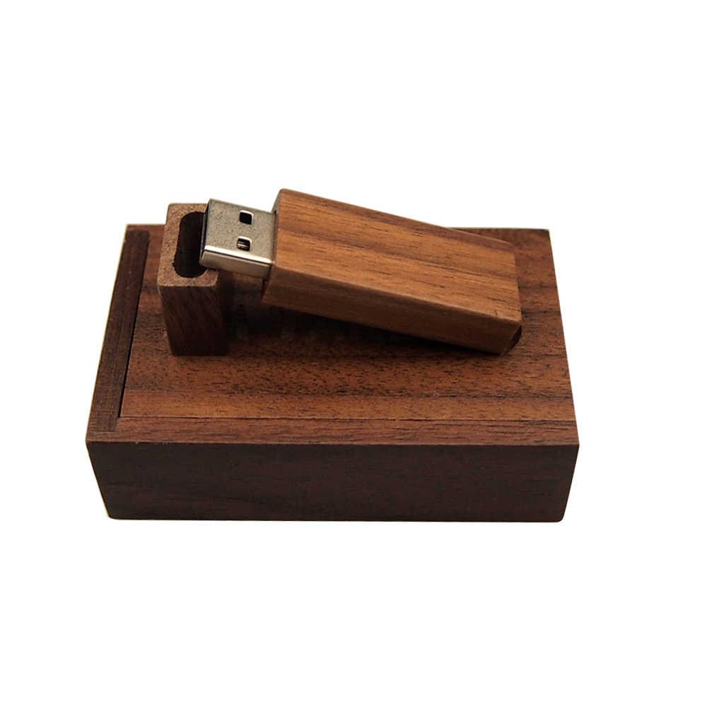 Ahşap Usb + kutusu Usb Flash sürücü Pendrive Usb 2.0 kalem sürücü 64 32 16 8 4 GB bellek Flash sopa ücretsiz özel Logo düğün iş