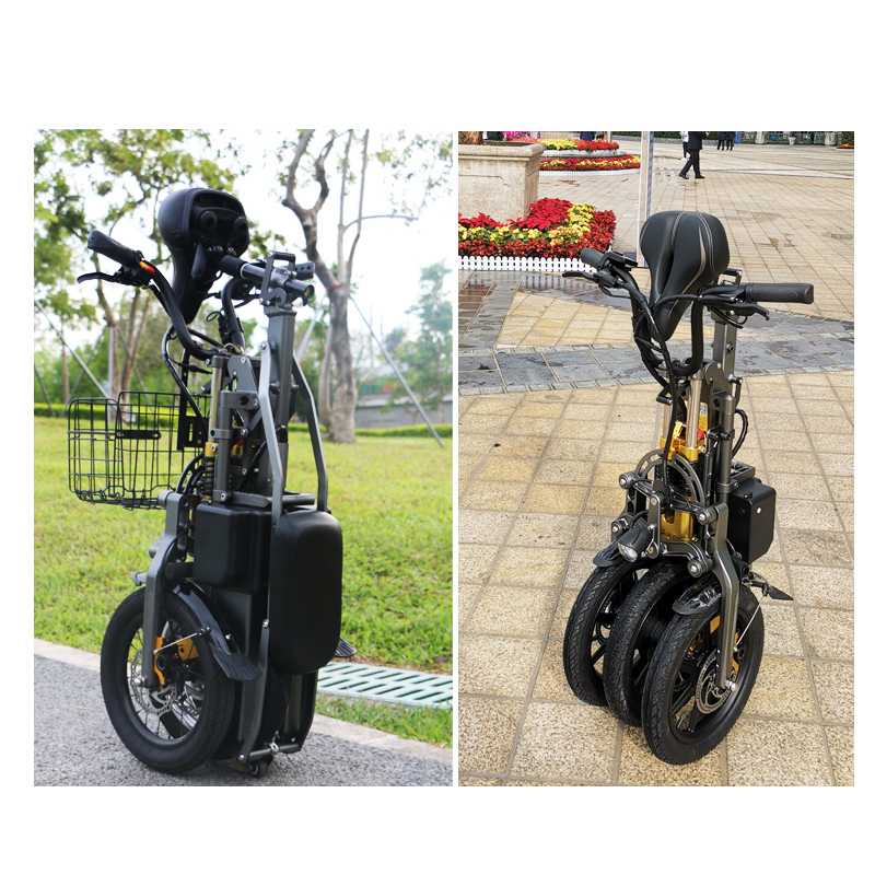 JX003 High speed electric bike 350w 48V 3 wheel foldable electric bicycle e scooter 6