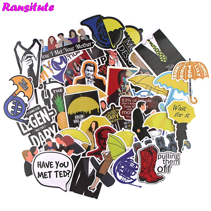Ransitute 37pcs / Set How I Met Your Mother Sticker Motorcycle And Suitcase Cool Laptop Sticker Skateboard Sticker Gift R738