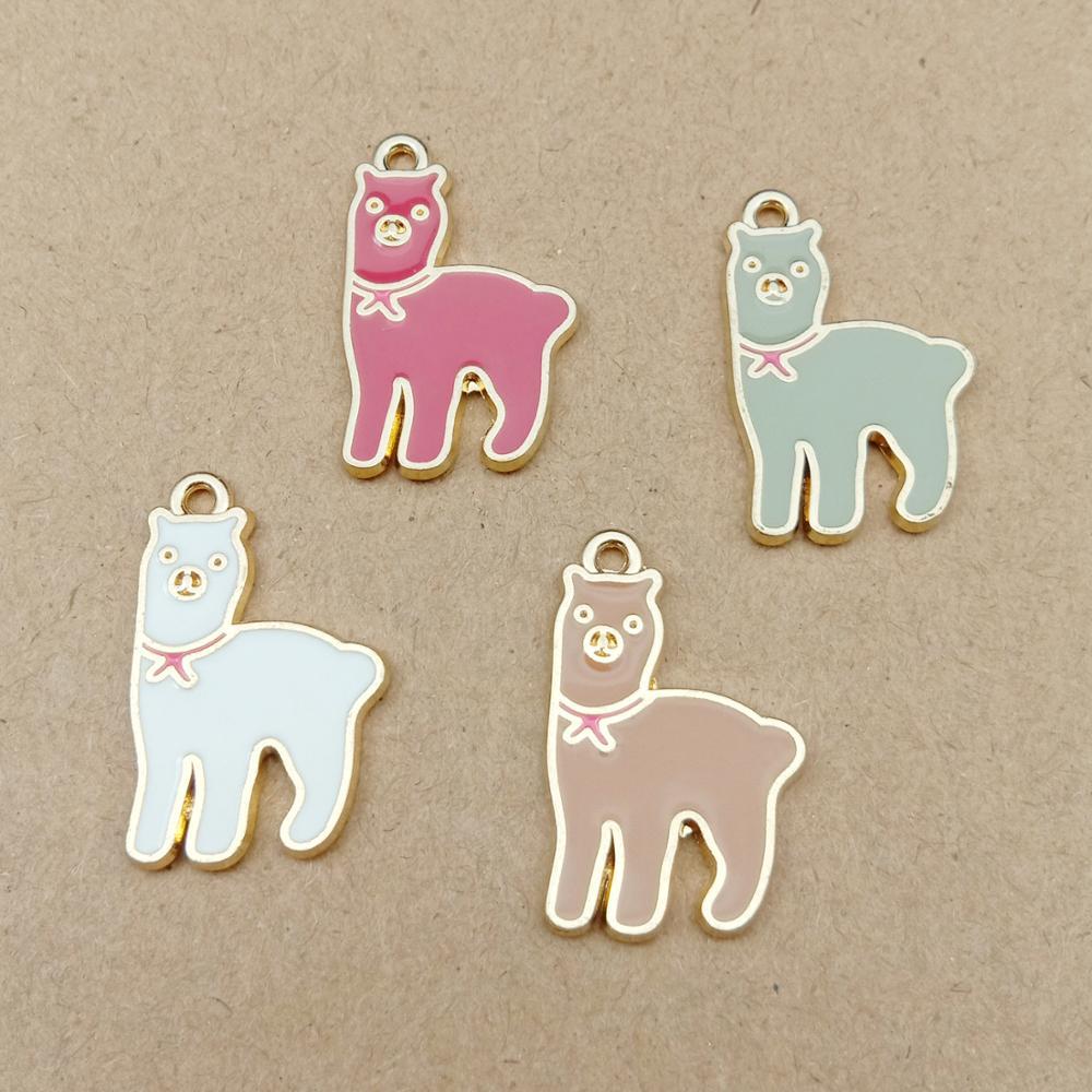 10pcs 25x17mm Metal Enamel Alpaca Lama Alpacos Grass Mud Horse Charms Bracelet Pendants Alloy Earring Jewelry Making Accessories