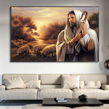 Jesus Herding The SheepOil Painting on Canvas Cuadros Posters and Prints Scandinavian Wall Art Picture Home Decor(China)