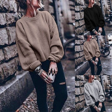 NEW Fashion Thin Sweater 2XL Woman Autumn Winter Casual Long Sleeve O-neck Solid Color Lantern Pullover Freeship свитер
