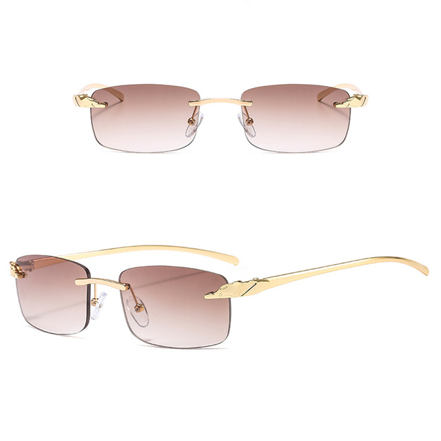 2020 Fashion Rectangle Sunglasses Women Rimless Small Lens Sunglasses Classical Alloy Metal Sun Glasses Men UV400 5