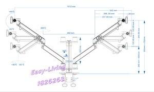 Image 4 - Hyvarwey OL 2Z pulpit 17 32 calowy podwójny Monitor ramię montażowe pełnoekranowy aluminiowy uchwyt monitora sprężyna gazowa ramię obciążenie 2 8kg każdy