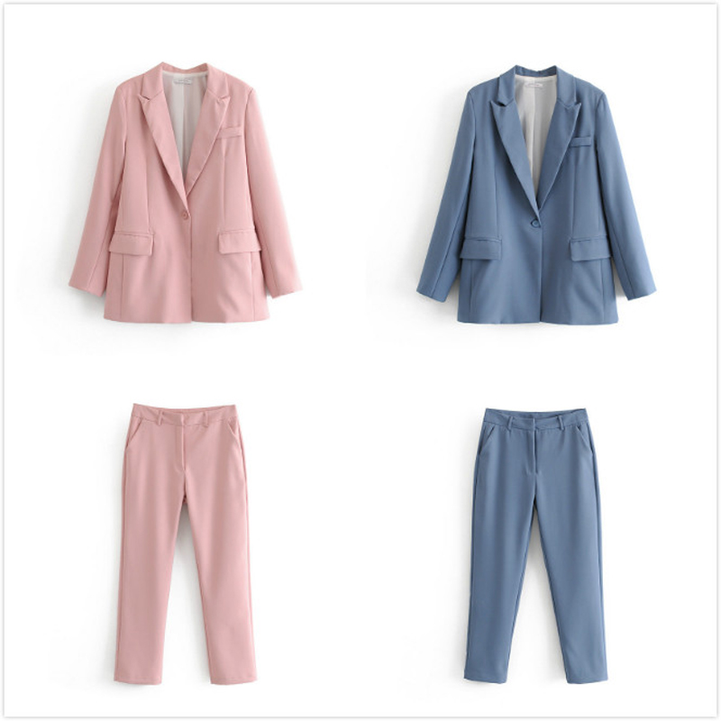 2019 Autumn OL Work Pants Suit Women Single Button Office lady Blazer Jacket + Zip Trouser Blue Pink 2 Piece Set Female Outwear
