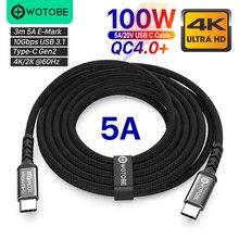 3m USB-C a C Cabo 10ft 5A E-MARK PD100W 5gbps USB 3.1 Gen2 10 4K 60Hz Vídeo Nylon tecelagem liga Linha de Energia para laptops Computador