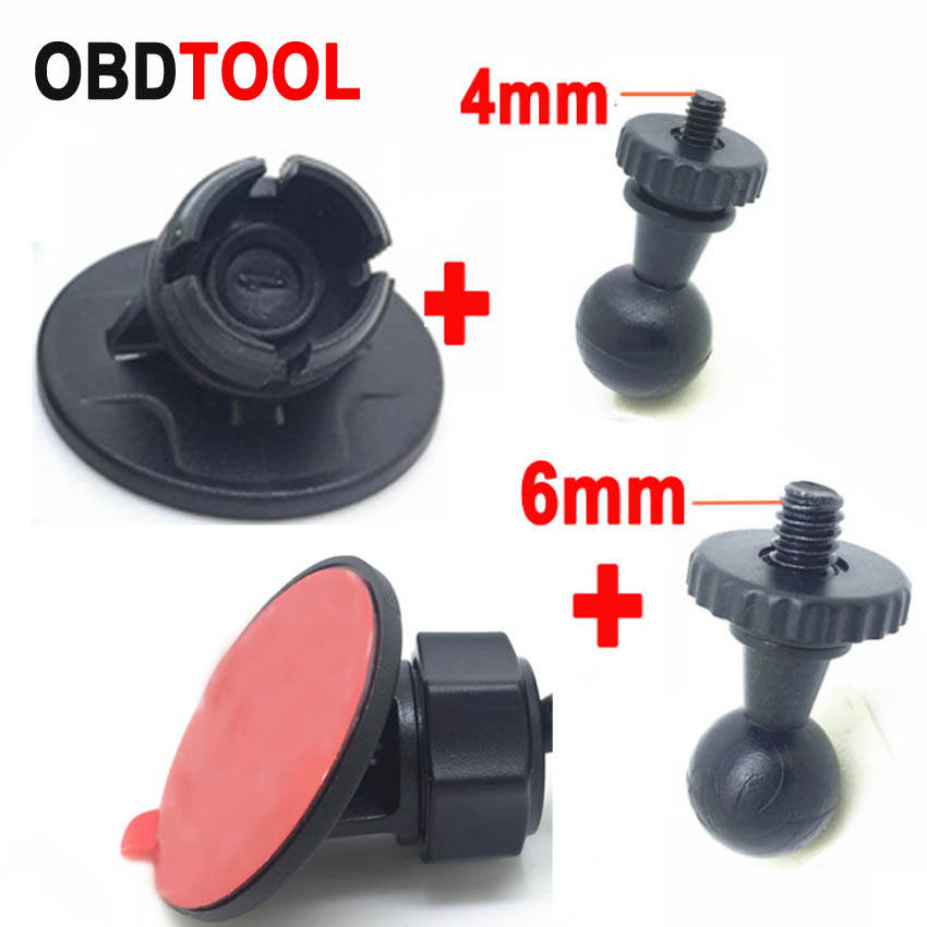 4mm and 6mm Screw Head Recorder Bracket with Circle Base Double-sided Adhesive Stick Car DVR Holder GPS Camera Sticker Mount
